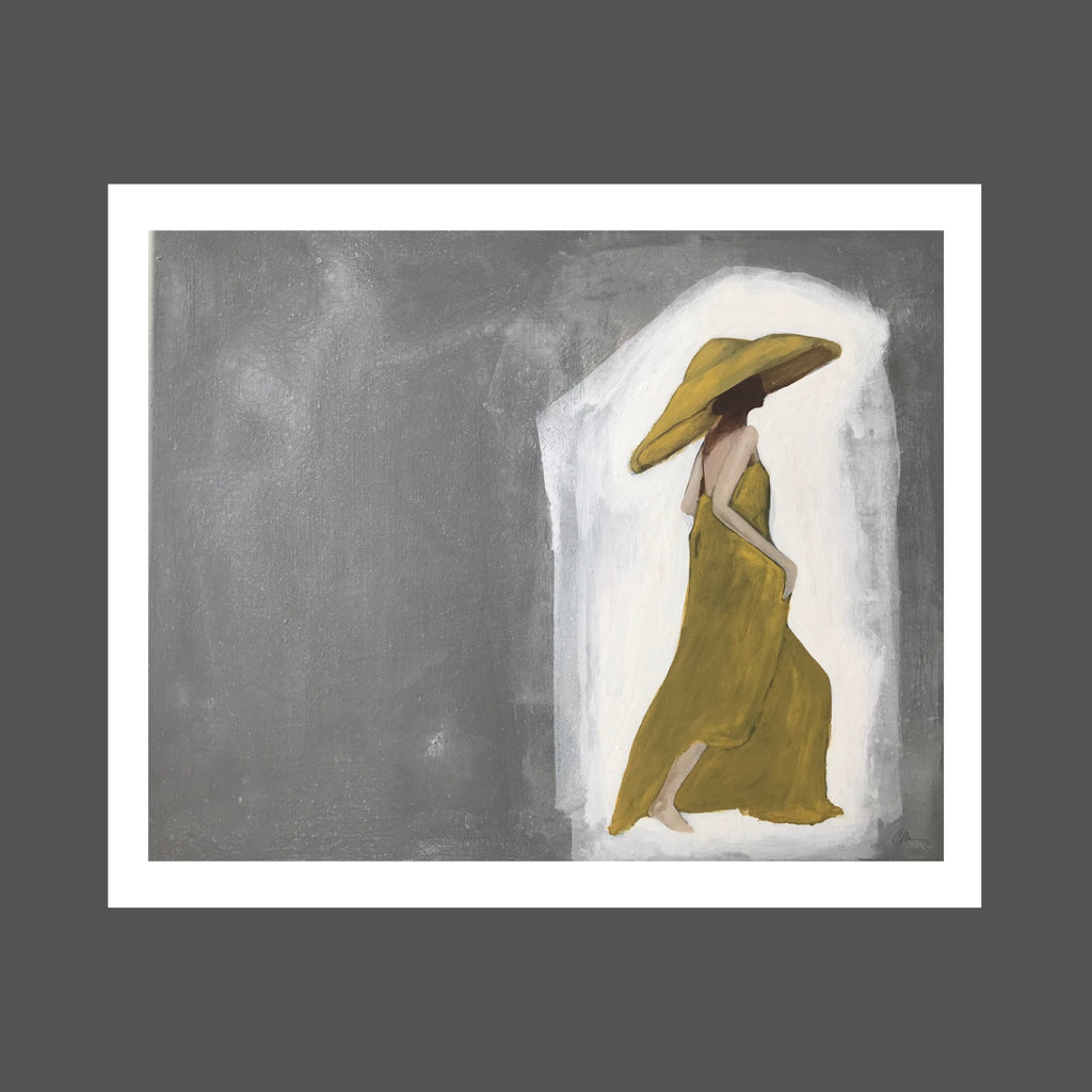 This painting is of a woman who seems to be surrounded by light.  She's strong and confident.  Happy and peaceful and she walks through life.  She's barefoot and wearing a long chartreuse dress with an over sized, matching hat that's shading her face.  The surrounding light is glowing on her skin.