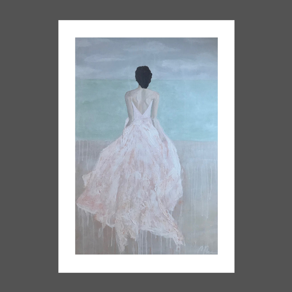 This painting is of a woman who is running on the beach towards the ocean.  She's wearing a long flowing silk dress in light coral. Her brunette hair is pinned up. The sky is shades of gray. The sea is shades of sage green and sea foam with beige sand beneath her he feet.  She's free.