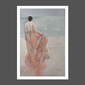 This painting is of a woman who is running on the beach towards the ocean.  She's wearing a long flowing silk dress. Her brunette hair is pinned up. The sky is shades of gray. The sea is shades of sage green and sea foam with beige sand beneath her he feet.  She's free.