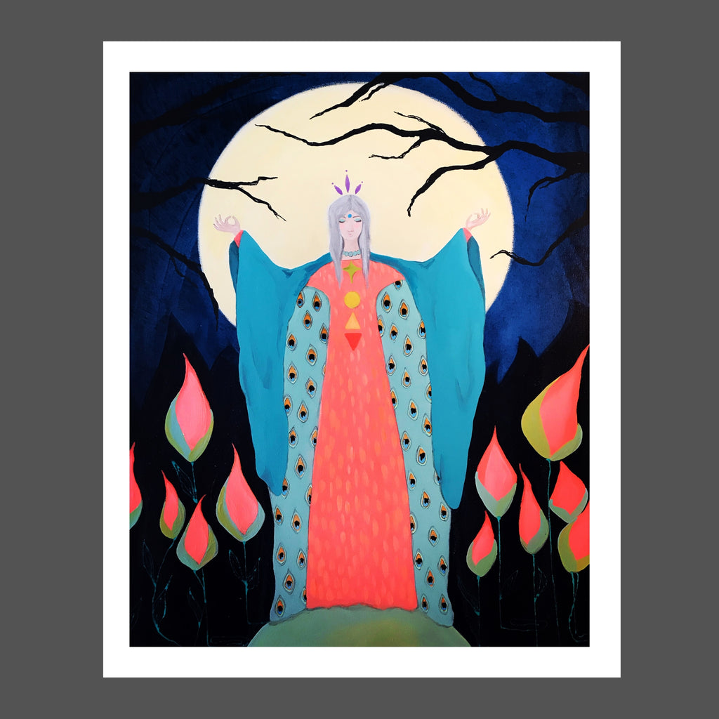 This painting is a beautiful goddess with her arms raised in celebration of the flower moon.  The setting is a night garden with melon colored flowers, indigo hues with shadows of tree branches.  She's standing on a sphere symbolizing the earth.  She's dressed in a melon pink long dress and wearing a robe in aquas with peacock feather designs on the inside.  She's wearing a crown in purple symbolizing the top of her chakra colors that follow down her chest, which appear like jewels.