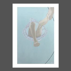 A whimsical view from a bugs eye looking up at a girl or young woman jumping rope. Her dress is a sheer linen with light showing through and a blue sky.  This painting is playful and a different perspective.