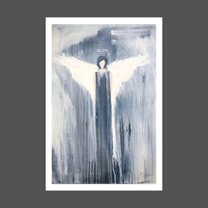 This painting is of a more modern version.  She's strong and mysterious.  The painting is primarily black and white with light skin tones on the angel.  Several layers of white wash, brush strikes and drips are highly visible.