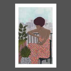Painting of a Beautiful African American woman sitting on her high rise balcony, overlooking the city below. Surrounded by plants with geometric patterns, wearing a colorful long dress with yellow, pink, aqua. Mahogany  hair with short Afro and glowing skin.  Blue sky with shades of gray and white.