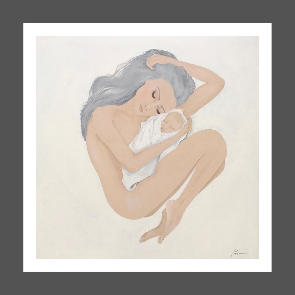 This painting captures the sweet and pure love of a mother and child.  Skin tones are soft ivory and peach.  Mother's hair is silver and long.  Baby is swaddled in white linen blanket.  They are peacefully sleeping.