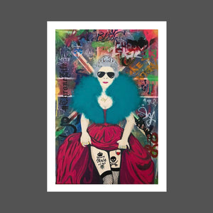 This is a fun and provocative painting of Queen Elizabeth. Her possible alter ego.  she's wearing Ray Ban sunglasses, her famous royal crown.  She's showing some cleavage and some leg with her fishnets and tattoos.  The background is of the Union Jack with graffiti and many hidden messages. #thronelife Throne life