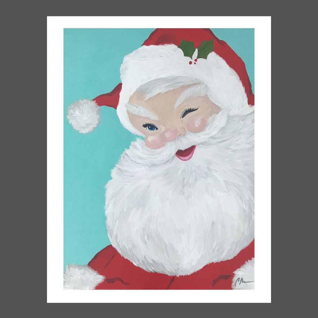 This traditional Santa was inspired by Coca Cola and my childhood.  The background is an aqua blue.  His suit is traditional red with a sprig of holly on his brim.  He's winking and glowing like the jolly fellow he is! His beard is fluffy white with a little gray.