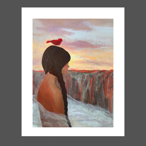 This painting is of a Native American girl.  She's young with an old soul.  Her skin is brown with red tones.  Her hair is dark and braided.  There cardinal on her head is a deep red.  The canyon and mountains are many tones of reds and browns.  The sky is blue with purple, yellow and orange,