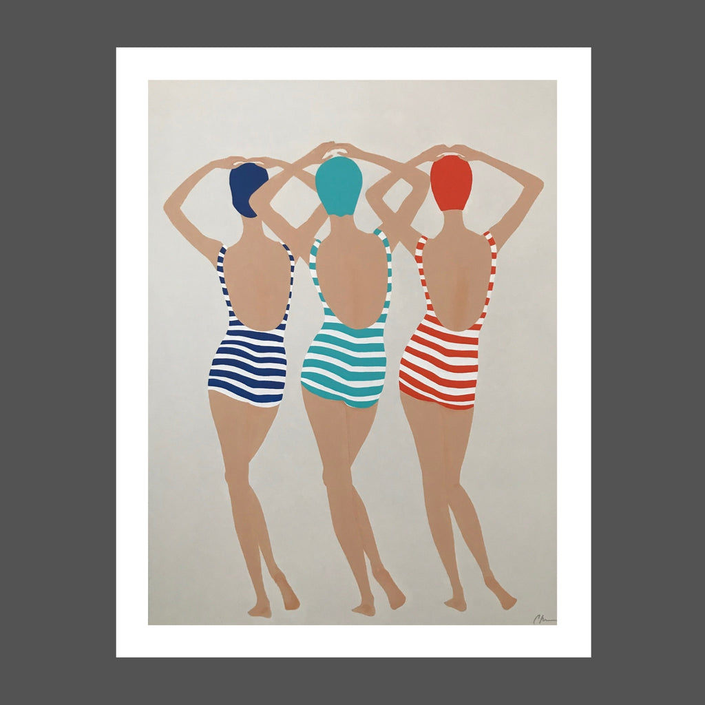 This painting was inspired by a vintage illustration.  There are 3 ladies, women, probably synchronized swimmers.  Thy're posed with their hips to the side and arms above their heads.  The swimsuits are striped in red, blue and turquoise.  Each swimmer has a matching cap to their suit.  Skin tones are soft tan.  Figures are reminiscent of the 1920s or 1930s.