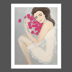 This painting is of a nude woman partially covered with a sheer white cloth.  She is partly submerged in water.  She's relaxed and dreamy.  She's surrounded by pink roses and petals.  her skin is fair and her hair is light brunette.