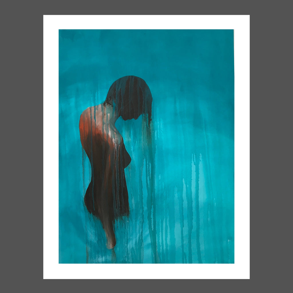 This painting is of a woman in a body of aqua water.  She's nude and tan.  She's free and uninhibited