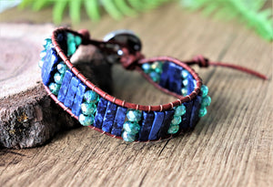 leather wrap bracelet with semi-precious stones