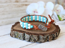 Load image into Gallery viewer, Handmade Natural Turquoise Leather Wrap Bracelet