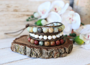 handmade natural amazonite, jasper and fresh water pearl leather wrap bracelet