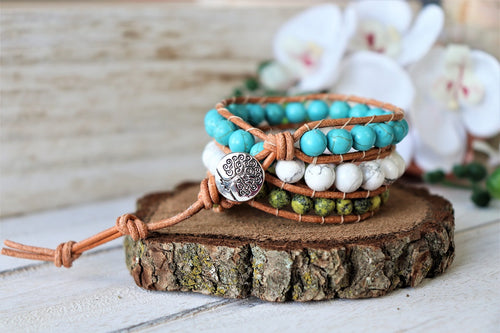 Turquoise and Jasper Leather Triple Wrap Bracelet