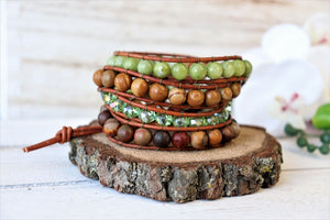 handmade jasper leather wrap bracelet