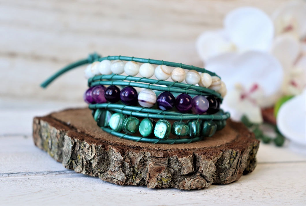 Handmade Natural Agate Leather Three Wraps Bracelet