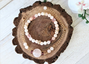 natural stone stacked bracelets