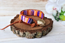 Load image into Gallery viewer, leather wrap bracelet with semi-precious stones