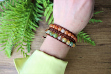 Load image into Gallery viewer, brown leather wrap bracelet