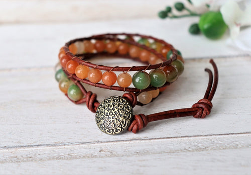 leather double wrap bracelet