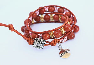 gemstone beaded leather wrap bracelet