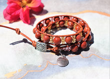 Load image into Gallery viewer, goldsand beaded leather wrap