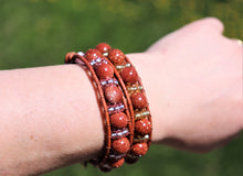 Load image into Gallery viewer, beaded leather wrap bracelet