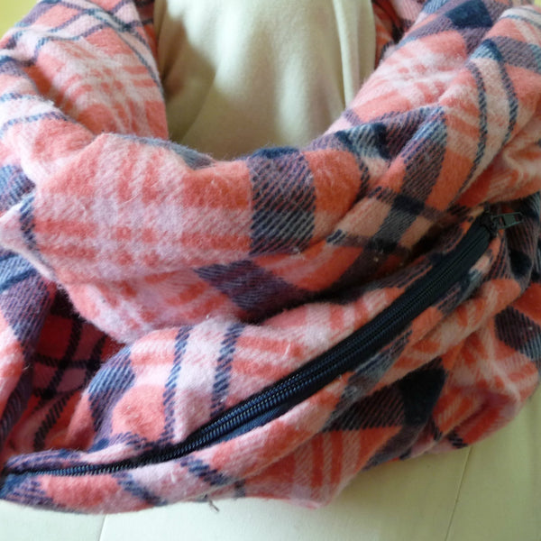 Coral Pink and Navy Blue Plaid Flannel Infinity Scarf with Hidden Pocket
