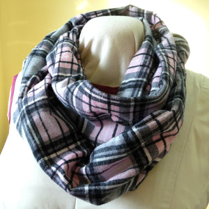 Pink and Grey Plaid Flannel Hidden Pocket Infinity Scarf