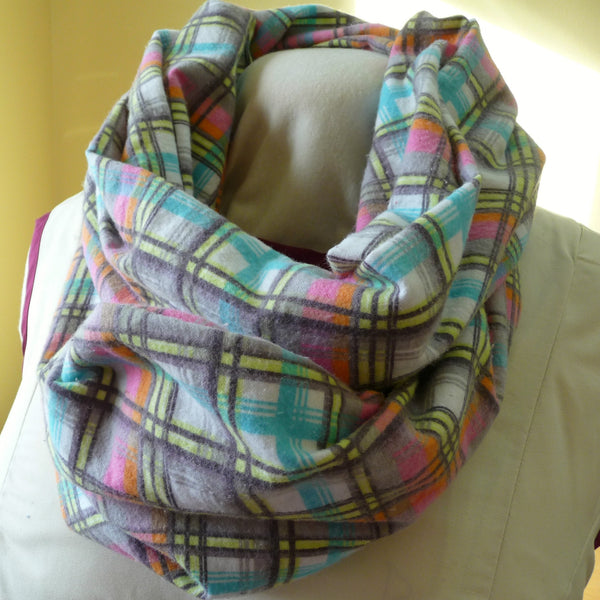 Hidden Pocket Infinity Scarf, Grey and Multicolor Plaid Flannel