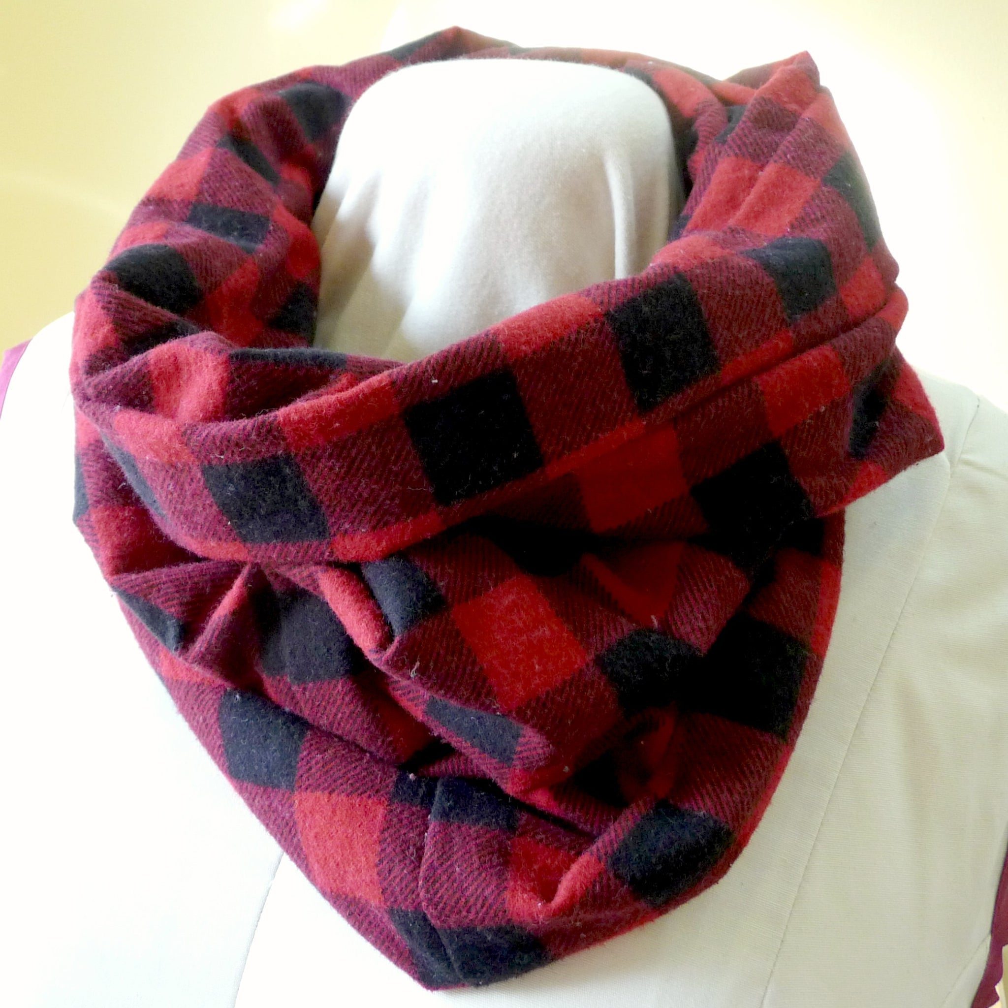 Red and Black Buffalo Plaid Infinty Scarf with pocket