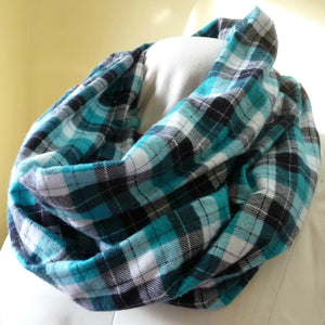Teal and Black Plaid Flannel Infinity Scarf with pocket