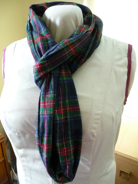 Classic Blue and Red Plaid Flannel Infinity Scarf