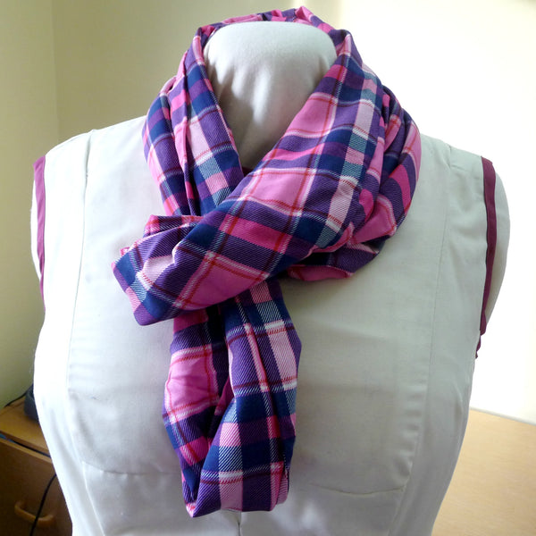 Hot Pink and Navy Plaid Rayon Infinity Scarf