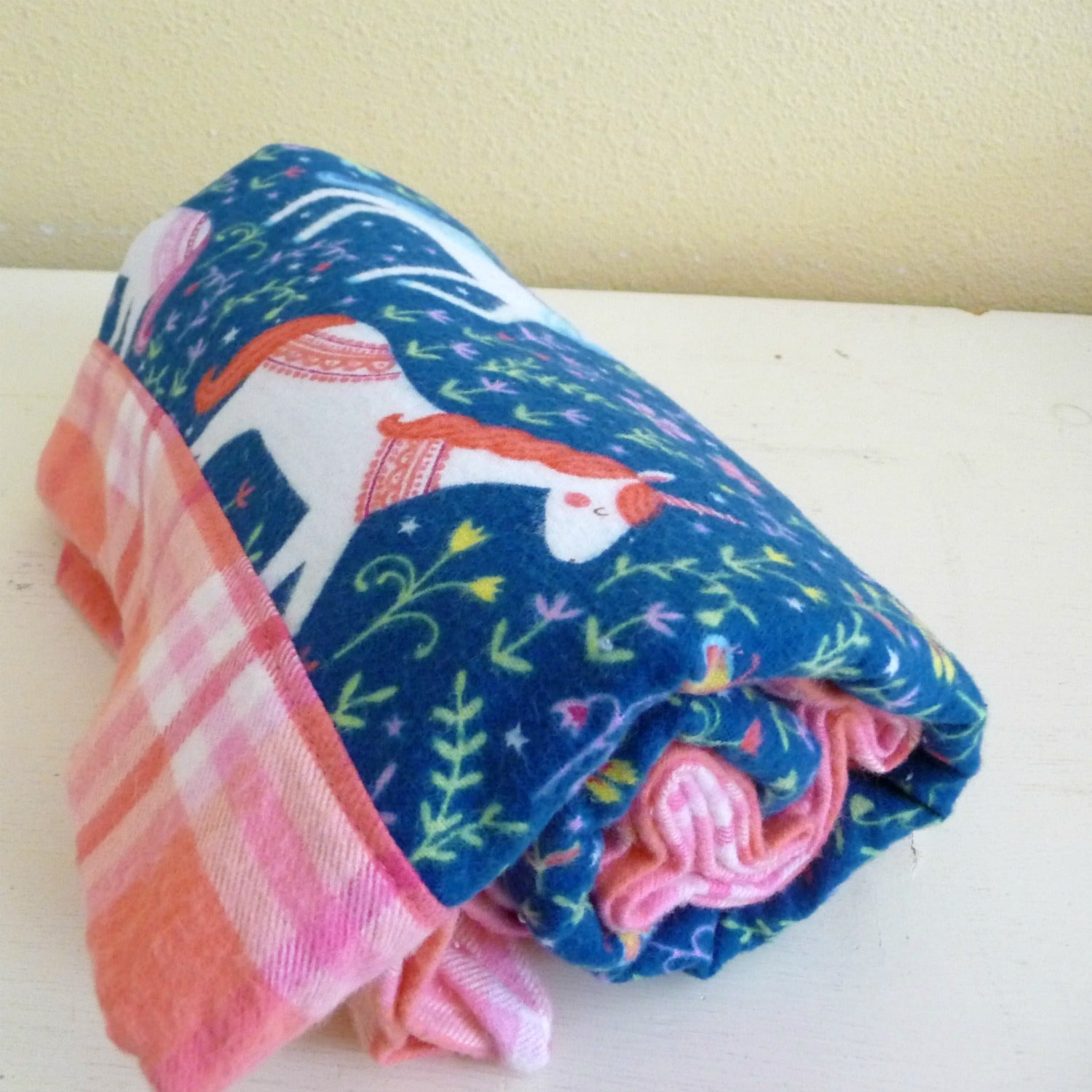 Unicorn Flannel Baby Receiving Blanket
