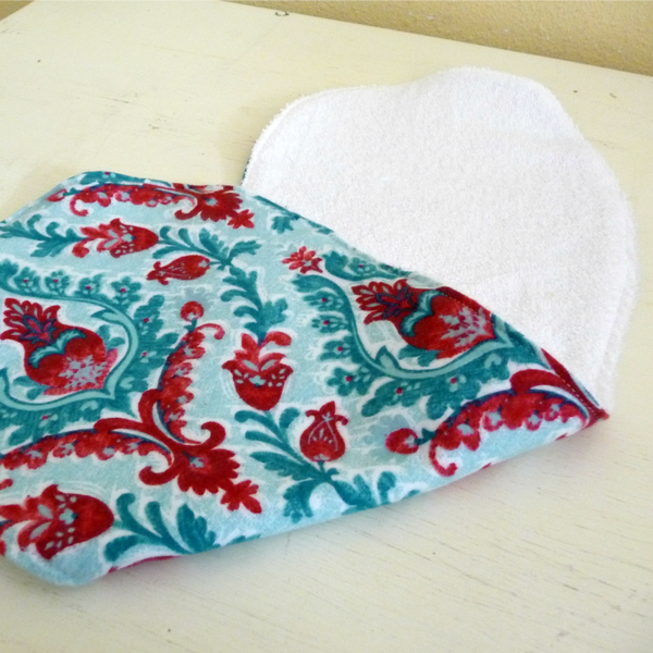 Red and Aqua Floral Medallion Burp Cloth