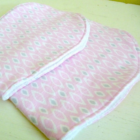 Pink and Grey Baby Burp Cloth Set