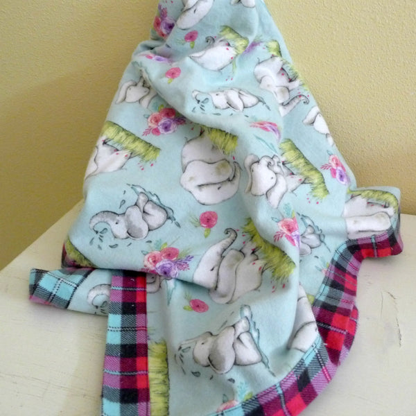 Baby Elephant Blanket and Burp Cloth Set