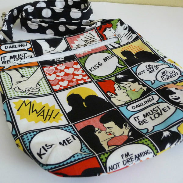 Small Kiss Me Comic Crossbody Purse