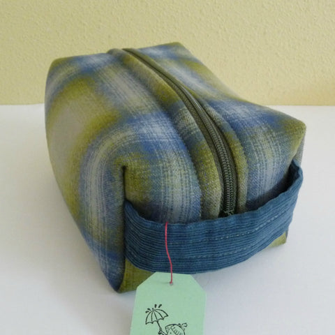 Green and Blue Plaid Wool Boxy Pouch