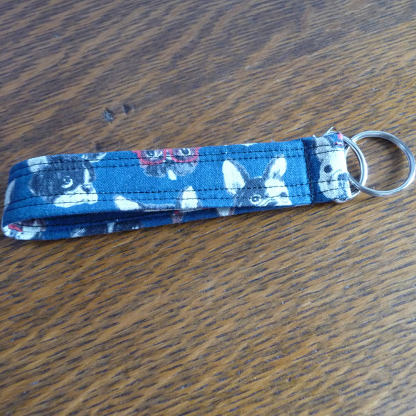 Navy Blue Bulldog Wristlet Key Fob