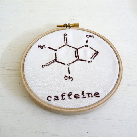 Caffeine Molecule Embroidered Hoop Wall Hanging