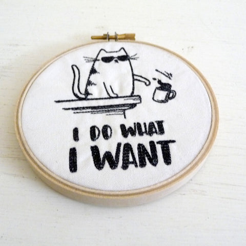 Cat Embroidered Hoop Wall Hanging Decoration