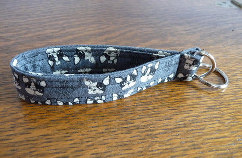 Grey French Bulldog Wristlet Key Fob