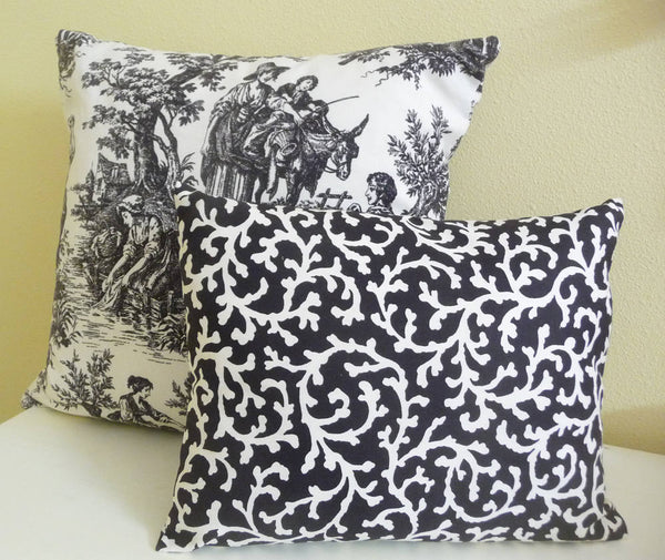 Modern Black and Cream Pillow Cover, Cushion Cover 12 by 16 inches Lumbar Pillow Covering