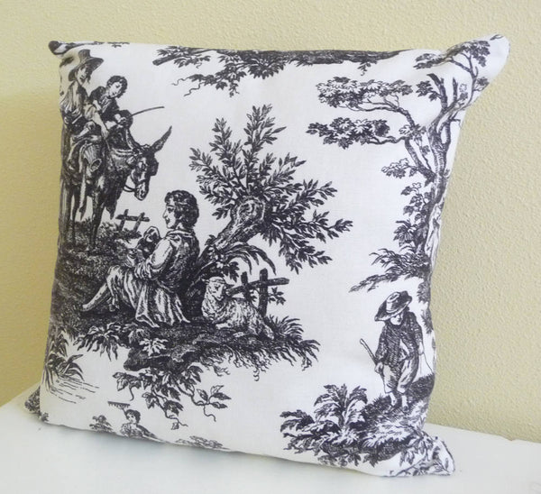 black and white toile cushion cover