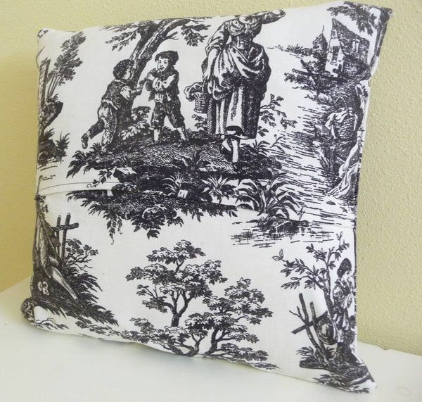Classic Black and Cream Toile Pillow Cushion Cover 16 inch square