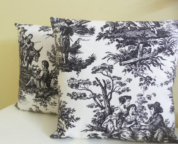 toile pillow covers