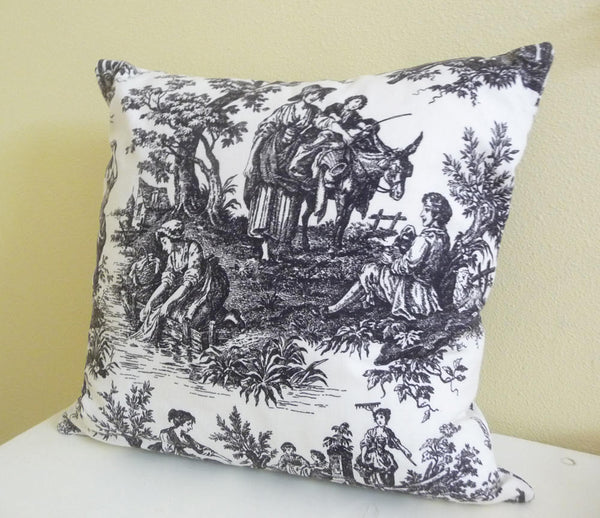 Classic Toile Pillow Cover, Cushion Cover 20 inch square, black and cream, single cover