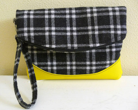 Black Plaid Wool Foldover Clutch Wristlet Bag with Yellow Vinyl